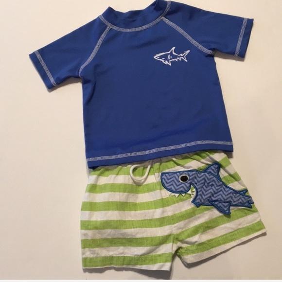 31fc39e560 Baby Boy Blue/Green Shark Swim Trunks/Rash Guard. M_5cafa1b41153ba01c3d33003